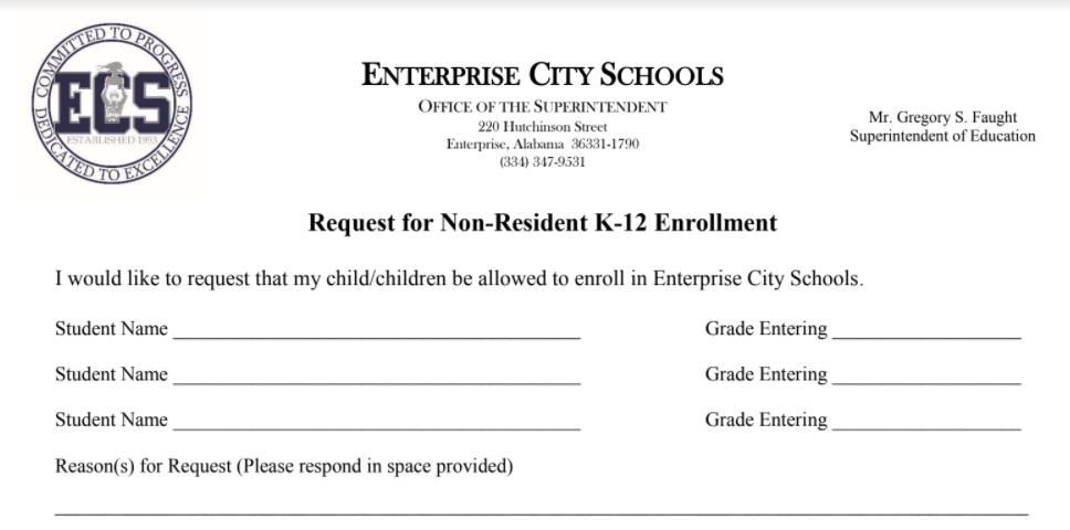 Non Residence Enrollment Request