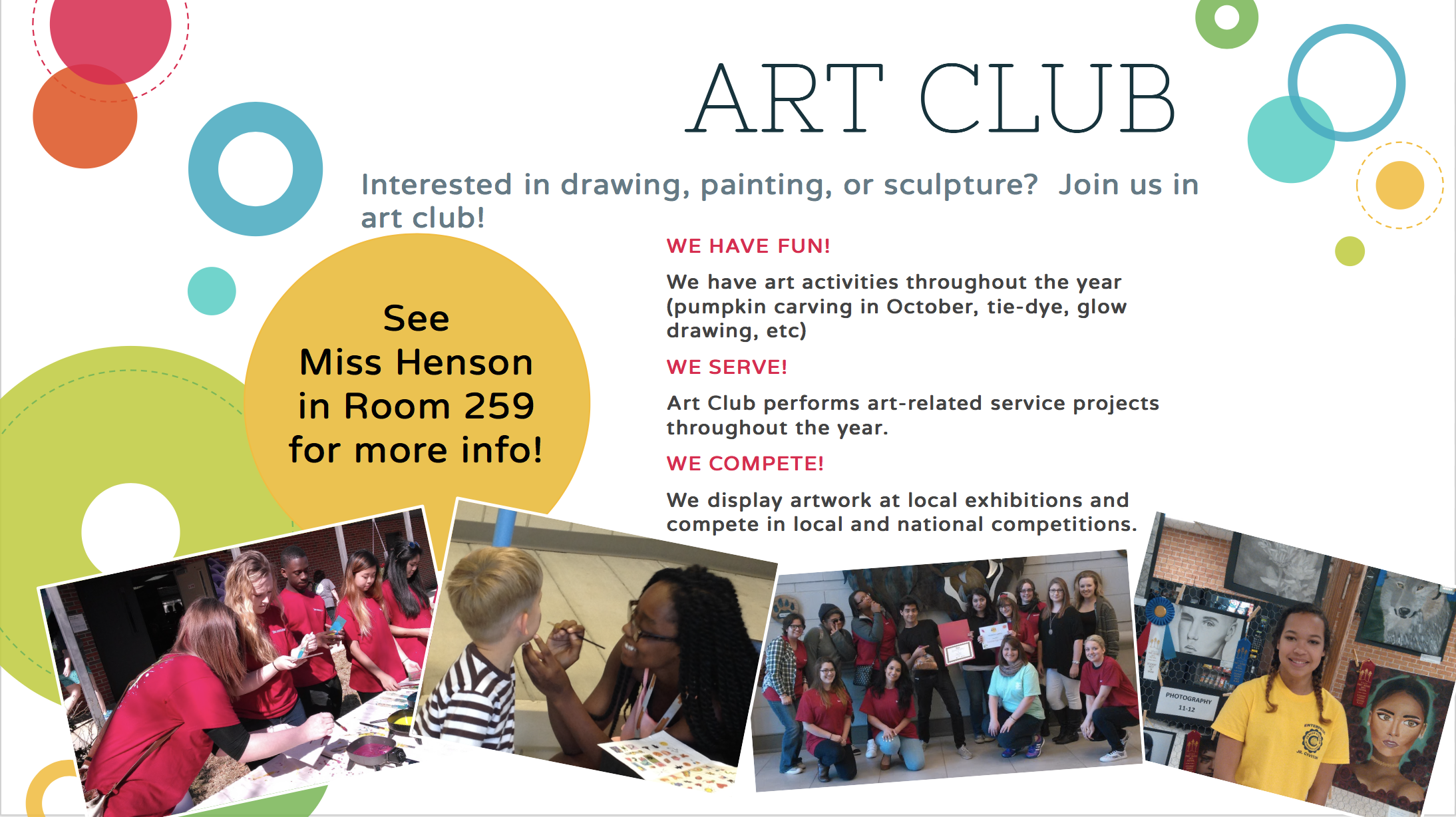 Art Club - Interested in drawing, painting, or sculpture? Join us in art club!