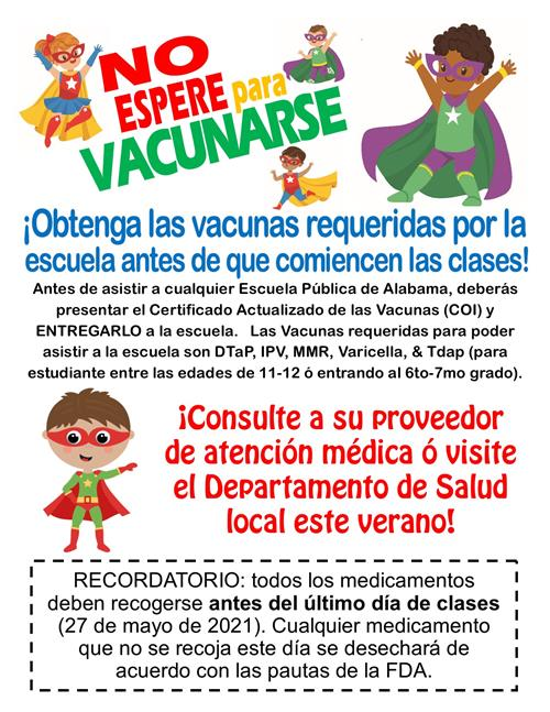 Back to school vaccines spanish