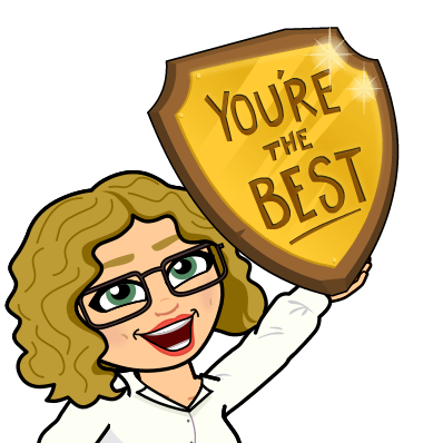 "Bitmoji holding a plaque saying, ""You're the Best"""